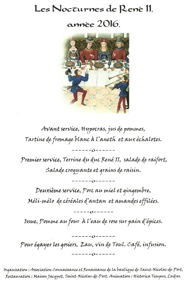 Menu médiéval des Nocturnes de René II
